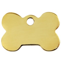 Plain Brass Dog Tag - Large Bone