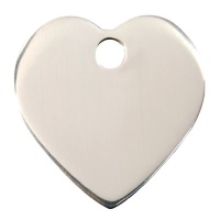 Plain Stainless Steel Dog Tag - Large Heart