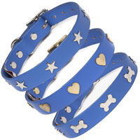 Studded Blue Leather Dog Collar