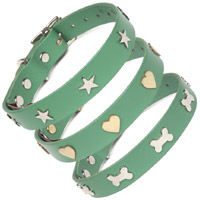Studded Jade Green Leather Dog Collar