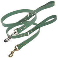 Jade Green Leather Dog Lead