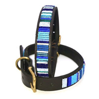 Masai Beaded Dog Collar - Blue Stripe