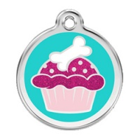 Cupcake Glitter Dog ID Tag - Medium