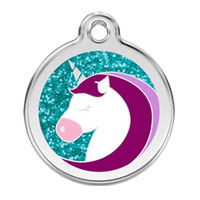Unicorn Glitter Dog ID Tag - Medium