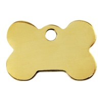 Plain Brass Dog Tag - Medium Bone