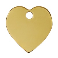 Plain Brass Dog Tag - Medium Heart