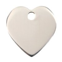 Plain Stainless Steel Dog Tag - Medium Heart