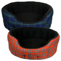 Oval Softee Tartan Dog Bed