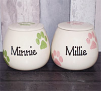 Personalised Ceramic Dog Treat Jar - Paws