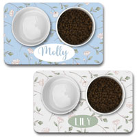 Personalised Dog Bowl Mat - Floral