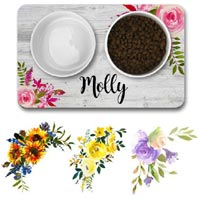 Personalised Dog Bowl Mat - Flowers