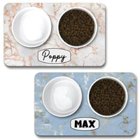 Personalised Dog Bowl Mat - Marble Effect