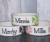 Personalised Dog Bowl - Paw Prints Straight