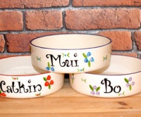 Personalised Dog Bowl - Roses Straight