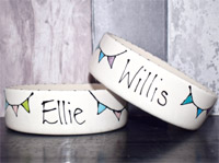 Personalised Dog Bowls - Bunting