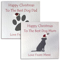 Personalised Best Dog Mum Dad Christmas Card