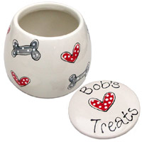 Personalised Ceramic Dog Treats Jar - Hearts & Bones