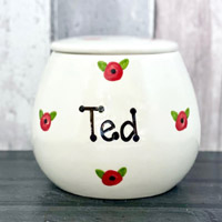 Personalised Ceramic Dog Treat Jar - Poppy