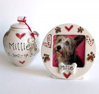 Personalised Dog Urn & Photo Frame - Hearts