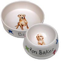 Personalised Portrait Stars Dog Bowls