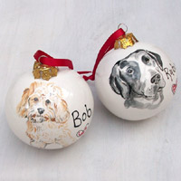 Personalised Portrait Dog Christmas Bauble