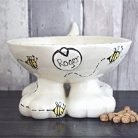 Personalised Dog Bowl On Feet - Bumble Bee