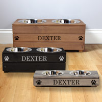 Personalised Wooden Double Dog Bowls Feeder