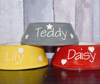 Personalised Dog Bowl - Polka Slanted