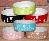 Personalised Dog Bowls - Polka Straight