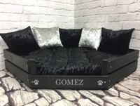 Personalised Wooden Corner Dog Bed - Black Velvet