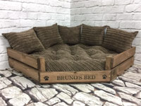 Personalised Wooden Corner Dog Bed - Brown Cord