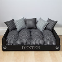 Personalised Wooden Dog Bed - Black Spot