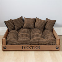 Personalised Wooden Dog Bed - Brown Cord