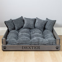 Personalised Wooden Dog Bed - Grey Cord