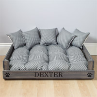 Personalised Wooden Dog Bed - Grey Spot