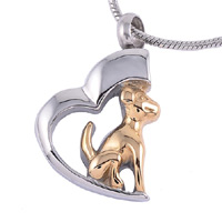 Pet Memorial Necklace Heart & Dog
