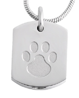 Pet Memorial Necklace Unisex Paw