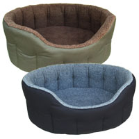 P&L Oval Polyester Fleece Lined Dog Bed