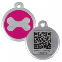 QR Dog Tag - Hot Pink Bone
