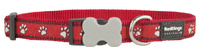 Red Dingo Dog Collar Paw Prints Red