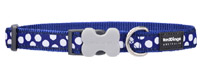 Red Dingo Dog Collar White Spots on Dark Blue