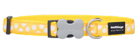 Red Dingo Dog Collar White Spots on Yellow