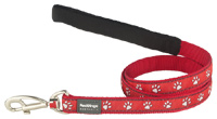 Red Dingo Dog Lead Paw Prints Red