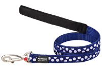 Red Dingo Dog Lead White Spots on Dark Blue