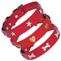 Studded Red Leather Dog Collar