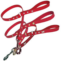 Studded Red Leather Dog Lead