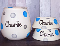 Dotty Slanted Personalised Dog Bowls & Treat Jar Set