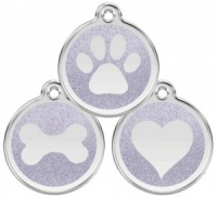 Glitter Enamel Silver Dog Tag - Small