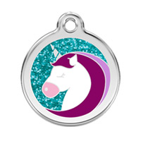 Unicorn Glitter Dog ID Tag - Small