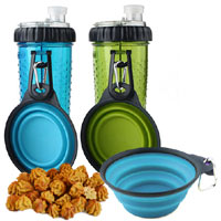 Snack-Duo Dog Water & Treat Bottle